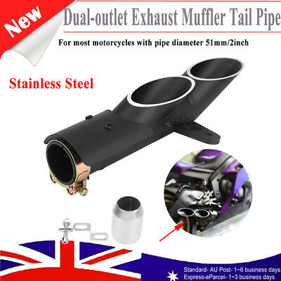 """Stainless Steel Dual-outlet Motorcycle Exhaust Muffler Pipe 2"""" For Yamaha YZF-R6"""