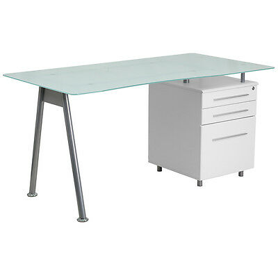 White Computer Desk with Glass Top and Three Drawer Pedestal - Office Desk