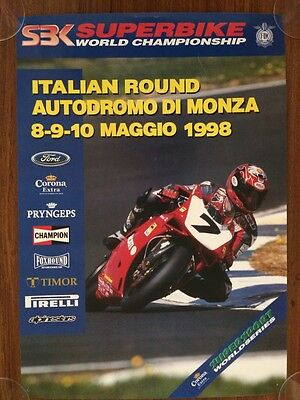 SBK Superbike World Championship Poster 1998 Monza Italy Official Rare Ducati