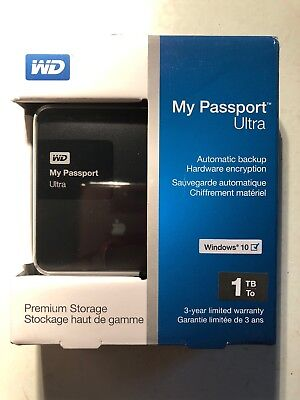 WD My Passport Ultra 1 TB Portable External Hard Drive Black ** Fast Shipping **