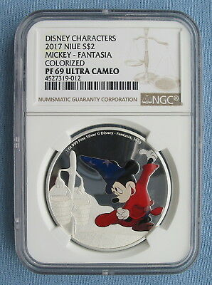 2017 Disney Mickey Mouse Fantasia Colorized Silver Coin - NGC PF 69 UCam Niue $2
