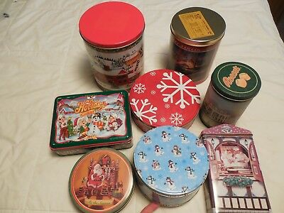 lot of 8 tins empty containers for christmas cookie tins candy tinspopcorn tin