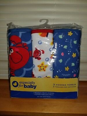 ESPECIALLY FOR BABY 3 Hooded Bath Towel Gift Set Boys Shower Ocean Crab Starfish