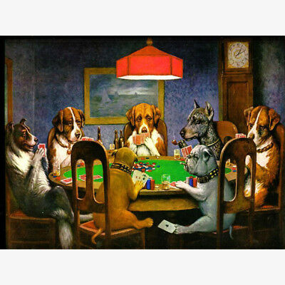 HD Canvas Painted Oil Painting Canvas Dogs Playing Poker Decoration 12x16 inch