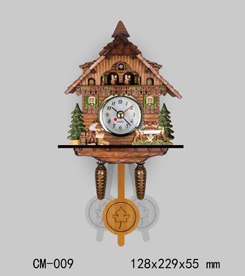 LE New German Cuckoo Clock Wooden Wall Clock Emboss Painting Retro Art Clocks