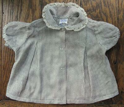 True Vtg Baby Toddler Nylon Orlon Plisse Shirt Green White Plaid 1940's-50's