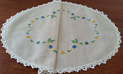 Vintage 60s BEIGE Crochet Edge Oval BLUE YELLOW Embroidered FLORAL DOILIE