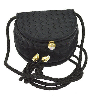 Auth Bottega Veneta Intrecciato Mini Shoulder Bag Pochette Black Satin  AK13454 f4bf0ae839493