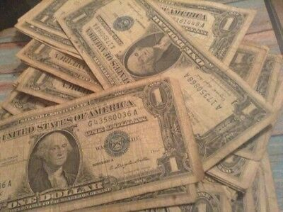 Lot Of 1 Silver Certificate United States Paper Dollar 1957 Or 1935 Old Money