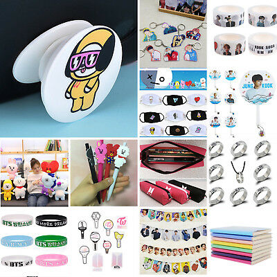 KPOP BTS EXO Ring Poster Plush Keyring Pens Mouth Mask Phone Stand Holder Tape