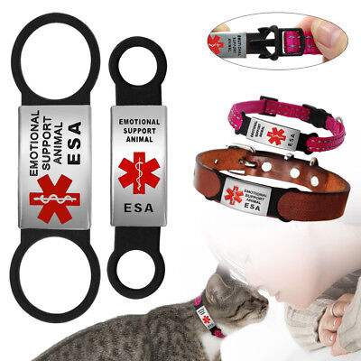 Emotional Support Animal Slide-on Cat Dog Tag for Collar No Noise ESA Tag S L