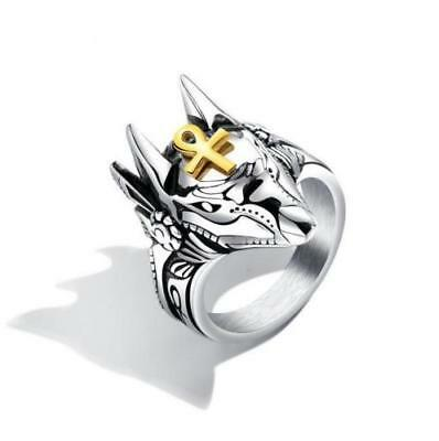 New Fashion Men's Stainless Steel  Anubis The Egyptian Patron Saint Ring Gift