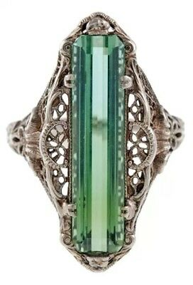 Turkish Handmade Emerald Topaz Vintage Carved Patterned Women Ring Size 6-10