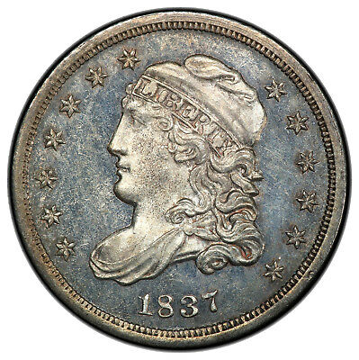 1837 Capped Bust Half Dime, LM-5, prooflike early die state, PCGS UNC detail