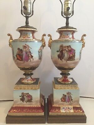 Pair Of Royal Vienna Style Porcelain Urns as Lamps Classical Scenes