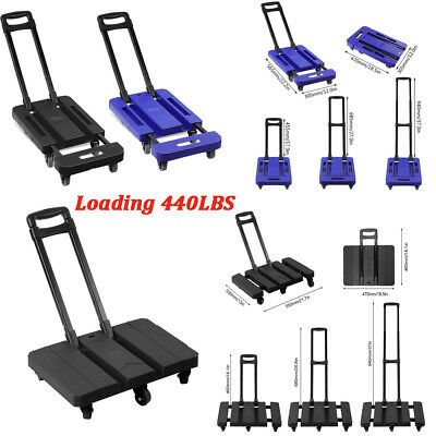 440LB Hand Truck Flat Cart Dolly Collapsible Cart Luggage Trolley & 6 Wheels MA