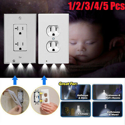 2 Plug Wall Outlet Cover Plate With LED Night Lights Hallway Bathroom Bedroom
