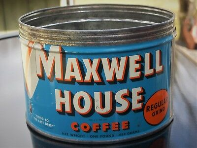 "MAXWELL HOUSE COFFEE TIN CAN ~ 1 lb. ~ 3 1/4"" HIGH ~ GC ~ EMPTY ~ NO LID"