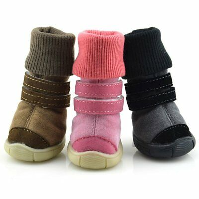 US Pet Dog Boots Waterproof Leather Anti-Slip Puppy Rain Shoes Snow High Booties