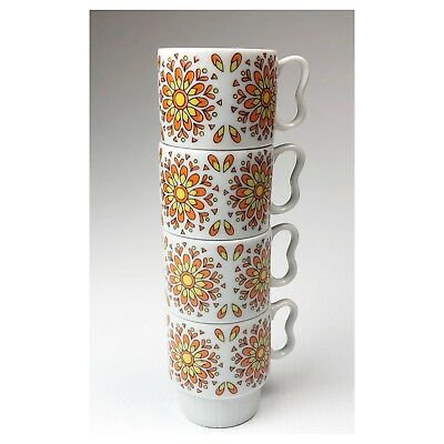 Vtg Set of Japanese Tampa R6395 Stacking Coffee Cups Mugs Retro Mid Century Mod