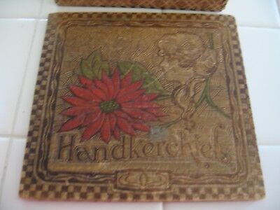 Vintage Art Nouveau Victorian Painted Pyrography Wood Burned Handkerchief Box