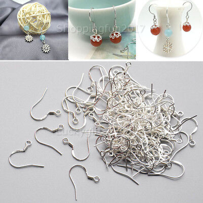 NEW 925 Sterling Silver Earring Hooks Wire 200pcs Hypoallergenic Ear Wire DIY AU