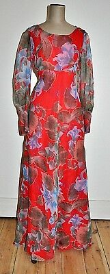 Vintage 60's Floral Overlay Evening Gown