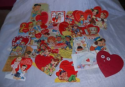 "VALENTINE CARDS ""USED"" VINTAGE 1940's, RANDOM LOT OF 25, GOOD COLOR & GRAPHICS!"