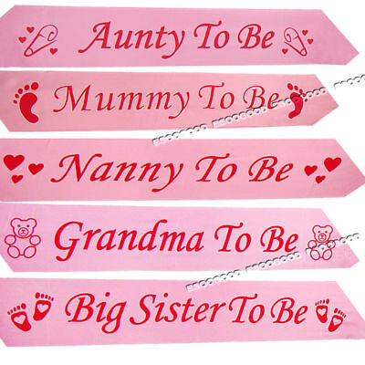 PINK BABY SHOWER SASHES Mummy to be Sash Nanny Aunty Big Sister & Grandma To Be