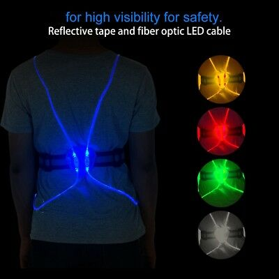 LED Lights Illuminated Reflective Vest Belt Safety Gear Sports Running Cycle SD