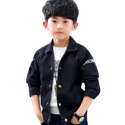 Kids Boys Outerwear Washed Single Breasted Denim Jackets Jean Shirts Age 4-12