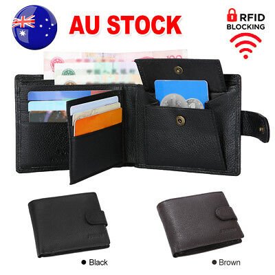 Genuine Leather Mens Wallet Purse Bifold Credit Card RFID Blocking Anti Scan OZ