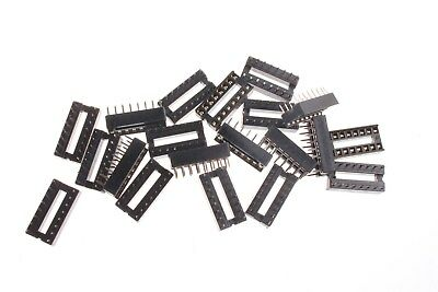 100Pcs IC Sockets 2.54mm Pitch DIP 16 Pin Solder Type UK
