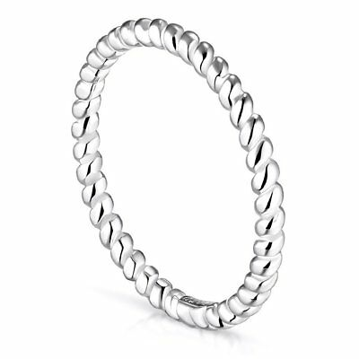 Solid 925 Sterling Silver Ring Twist Rope Design Sizes L-V Wedding Band SEMAID
