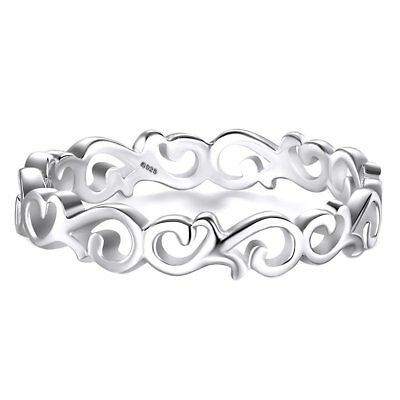 925 Sterling Silver Ring Celtic Knot Heart Tarnish Resistant Eternity Wedding