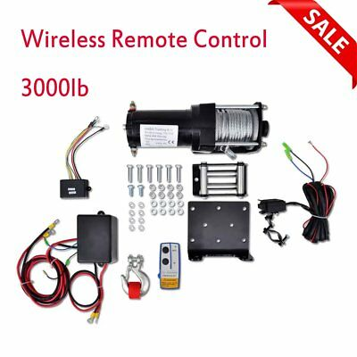 3000lb Electric Winch Set 12V  9m with Plate Roller Fairlead Remote Control New