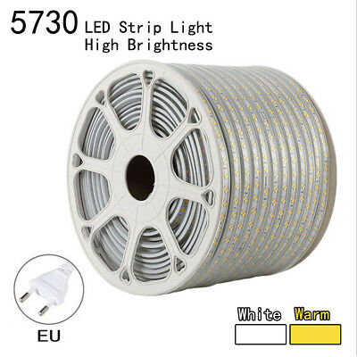1M2M3M5M10M 5730 LED Strip Light 120LEDS/M Flexible Tape Rope Waterproof SMD220V