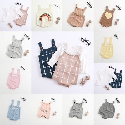 Newborn Baby Girls Long Sleeve Knitted Ruffle Jumpsuit Romper Clothes Bodysuit