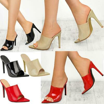 Womens Ladies High Heel Stiletto Patent Sandals Barely There Slip On Party Size