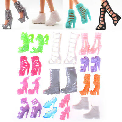 12 Pairs/Set Dolls Fashion Shoes High Heel Shoes Boots for Barbie Doll Gift Xe