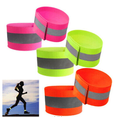 2x Reflective Safety Arm Band Belts Strap Exercise Night Running Biking Gurads