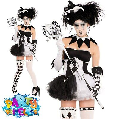 Adult Tricksterina Costume Halloween Evil Jester Ladies Fancy Dress Outfit