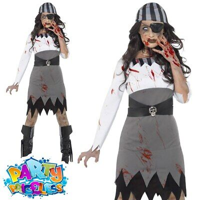 Ladies Zombie Pirate Lady Costume Halloween Buccaneer Fancy Dress Outfit Womens