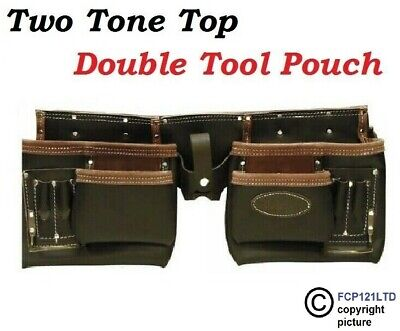 Rolson Heavy Duty Professional Two Tone Double Pouch Red Leather Tool Belt
