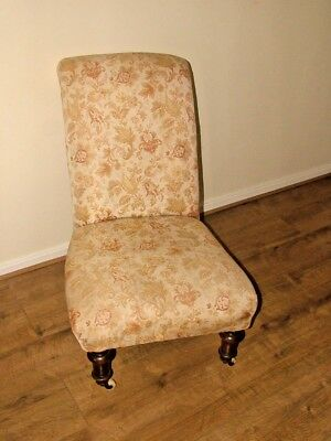 Late 19thC Beige Floral & Walnut Nursing Chair On Porcelain Castors S/land SR2