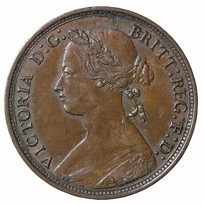 1876-H Great Britain Halfpenny Small Date KM#754 Queen Victoria Coin 1/2 Penny