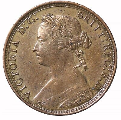 1875-H Great Britain Halfpenny KM#754 Queen Victoria Coin 1/2 Penny