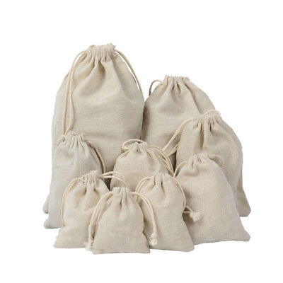 5x Burlap Linen Jute Jewelry Pouches Drawstring Wedding Gift Bags Xmas Favors