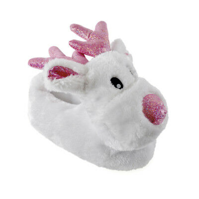 Girls White Reindeer Pink Sparkle Faux Fur 3D Novelty Slippers In 4 UK Sizes
