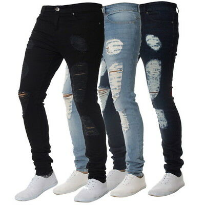 c64d2058299569 Herren Jeans Loch Denim Zipper Hip Hop Hosen Slim Fit Skinny Zerrissen  Destroyed